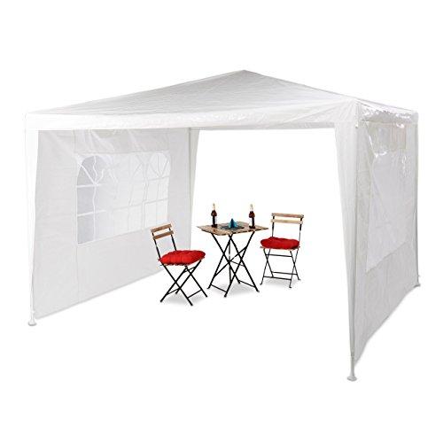 Relaxdays Pavillon 3x3 m, 2 Seitenteile, Metall Gestell, PE Plane, Fenster, Festival Partyzelt, Geschlossen, Weiß