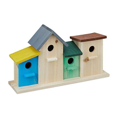 Relaxdays Vogelhäuser auf Holzsockel, Außen Nistkasten, Garten-Deko, Nisthilfe HxBxT 26 x 46 x 12,5 cm, bunt