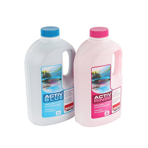 Set Thetford Activ Blue & Aktiv Rinse Toiletten Zusatz je 2 Liter, wahlweise mit Toilettenpapier (Blue + Rinse)