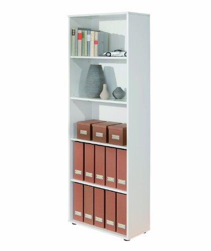 Inter Link 13500040 Regal weiß Bücherregal Wandregal Aktenregal Büroregal Büro Wohnzimmer 4 Böden