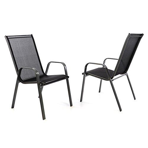 2er Set Gartenstuhl Stapelstuhl Stapelsessel Hochlehner Terrassenstuhl – Textilene Stahlgestell – pflegeleicht robust stapelbar – Farbe: Rahmen schwarz / Bespannung schwarz