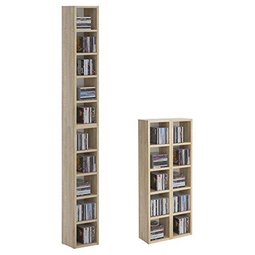 CD DVD Regal Ständer Aufbewahrung CHART, in Sonoma Eiche mit 10 Fächern für bis zu 160 CDs, 20x186,5 cm (Breite x Höhe)