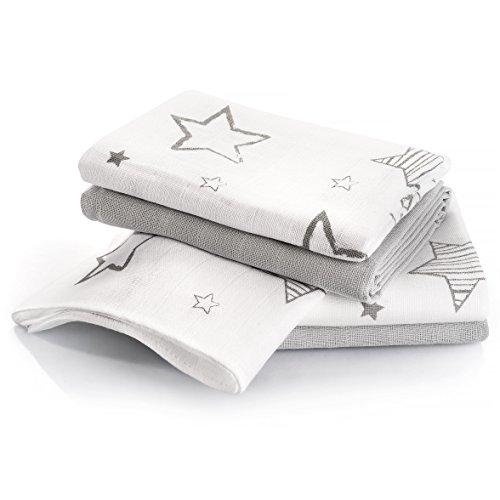 4 Stück - Mulltücher / Spucktücher / Mullwindeln, 70 x 70 cm - bedruckt - Sterne Grau, doppelt gewebt mit verstärkter Umrandung, maschinenwaschbar bis 60° C, Öko-Tex Standard 100