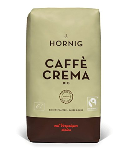 J. Hornig Caffe Crema Bio | Kaffee Ganze Bohne | 1000g | Bio- und Fairtrade-zertifiziert | Perfekt für Vollautomaten und Espressomaschinen