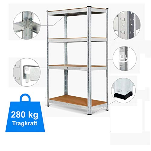 Schwerlastregal Lagerregal Kellerregal Regal Schraubregal Steckregal Werkstattregal Silber und Chrom, 875 - 1000 kg, verschiedene Größen 4-5 Böden