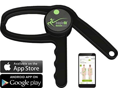eaglefit Bluetooth Caliper - Das erste digitale Körperfett Messgerät mit App - Machen Sie Ihre Fitness-Erfolge messbar!