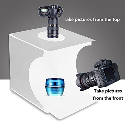 Mini Tragbares Fotostudio Schießzelt, JHS-TECH Kleine faltbare LED Lichtbox Softbox Kit mit 6 Farben Backdrops für Fotografie, 2 Eingebaute 6000K Weiße LED Streifen