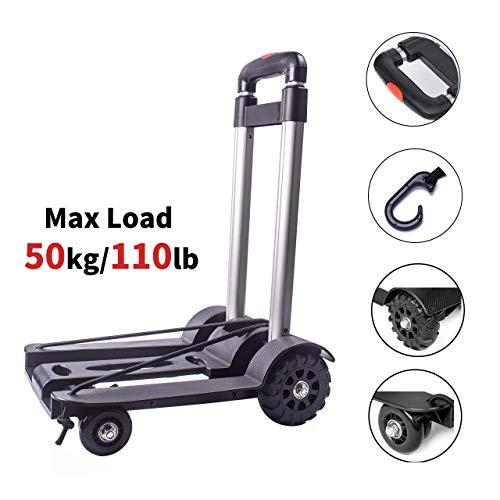 Sackkarre Faltbar, Transportkarre Klappbar/Alu-Sackkarre Mini/Leichtgewichtiger Gepäckwagen/Aluminium Transport und Handkarre für Umzug oder Getränkekisten, bis 50 kg/110 lb