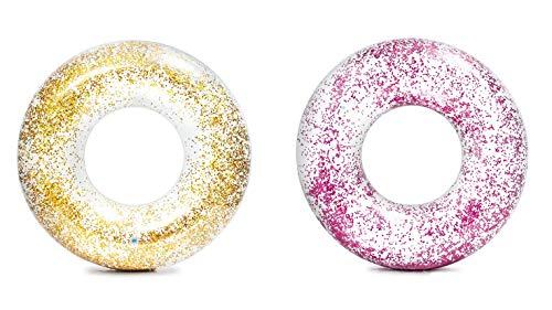 Intex 56274 Schwimmring Glitter, Gold oder Pink, 119 cm