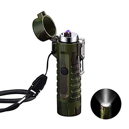 VOMONO Elektrisch Feuerzeug Winddichte, USB aufladbar Feuerzeug mit Taschenlampe Flammenlos für Grill, Herd, Kerzen, Zigaretten und Outdoor Camping in Ausflüge Tarnung