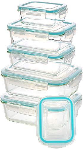 Utopia Kitchen Glas-Frischhaltedosen 12 Stück [6 Behälter + 6 Deckel] - Glasbehälter - Transparente Deckel - BPA frei - für Home Küche oder Restaurant