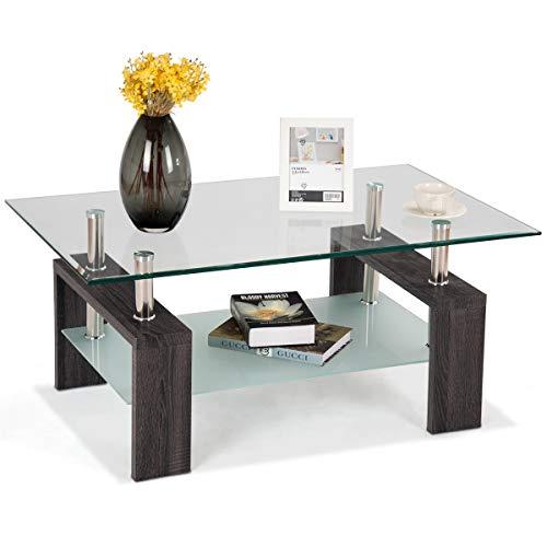 COSTWAY Couchtisch Wohnzimmertisch Sofatisch Beistelltisch Kaffeetisch Glastisch, mit Stauraum, 2 Etagen, Tischplatte aus Sicherheitsglas, für Wohnzimmer/Balkon/Flur, schwarz