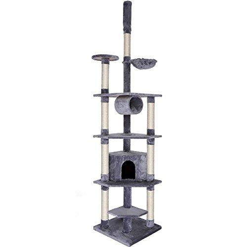dibea KB00423, Kratzbaum (Höhe 240-260 cm, höhenverstellbar), Kletterbaum für Katzen, hell-grau