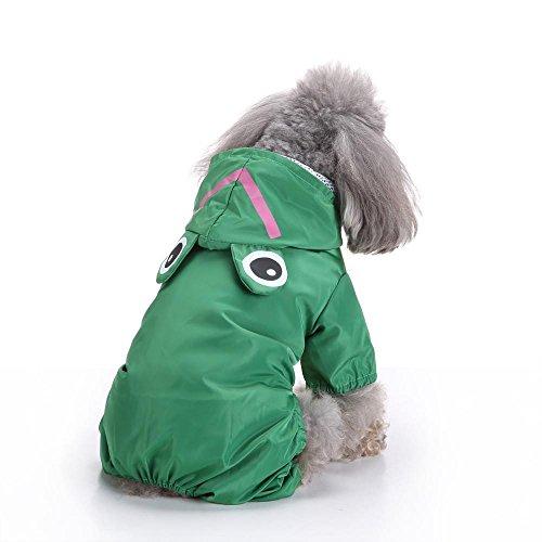 Doublehero Haustier Niedlich Tiermodellierung Kapuzen Regenmantel Regenjacke Hunderegenmantel Wasserdicht Kleidung Puppy Hund Raincoat (L, Grün)