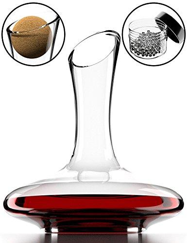 Dekanter & Zubehör (Korkverschluss + Reinigungsperlen aus Edelstahl) - 100% bleifreie Weinkaraffe aus Kristallglas - Weinbelüfter Dekantierer für Rotwein - Einzigartige Geschenkidee