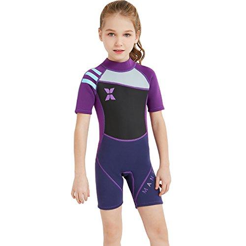 GWELL Jungen Mädchen Kinder Neoprenanzug 2.5MM Neopren Kurzarm Warmhaltung UV-Schutz Tauchanzug Badeanzug für Wassersport Violett L