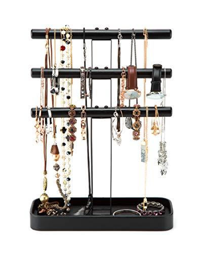 JackCubeDesign Holz 3-Tier-Schmuckständer Baumorganisator-Armband Halskette Halter Rack-Hanger-Tower mit Lederohrring-Ablageschale Tischplatte (Schwarz, 30,5 x 11,4 x 40 cm) -: MK413A