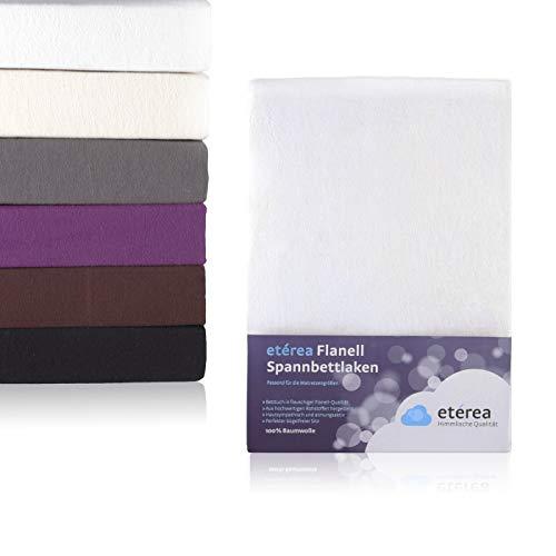etérea Flanell Biber Spannbettlaken Spannbetttuch aus 100% Baumwolle - weich und kuschlig auf der Haut - Steghöhe bis zu 25 cm, 90x200-100x200 cm, Weiss