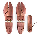 Hochwertiger Schuhspanner aus Zedernholz - inkl. Schuhlöffel, atmungsaktiv, für Damen und Herren, braun