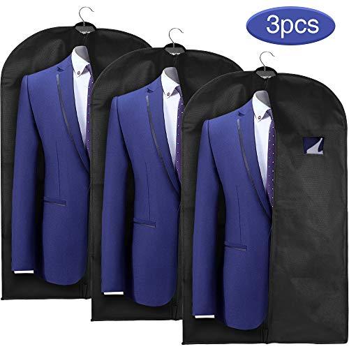 esonmus Kleidersack Kleidersäcke lang 3er Set Anzugsack Kleiderschutz 60x128 cm, Schwarz