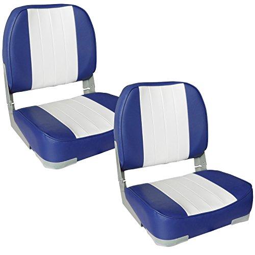 [pro.tec] 2x Bootssitze (blau - weiss) im Sparpaket - aus wasserfestem Kunstleder / Steuerstuhl / wasserfest / gepolstert / Kapitänsstuhl / Angelsitz / UV- beständig