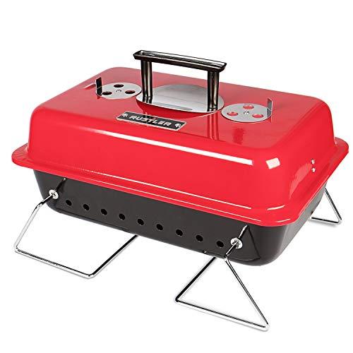 Rustler Holzkohle Picknickgrill 15 cm , rot emailiert , Tragbarer Grill mit Deckelthermometer, klappbaren Standfüßen & großer Grillfläche , Klappgrill für Garten, Balkon, Festival & Camping