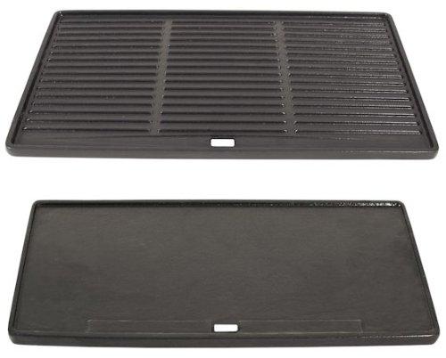 BBQ-TORO Gusseisen Grillplatte, Wendegrillplatte, ca. 45,5 x 35 cm, emailliert, gerippt und flach, Plancha