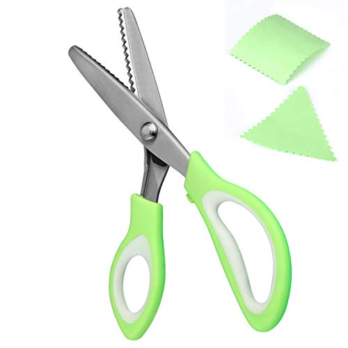 FXMING Zickzackschere Stoff, Zackenschere Stoffschere Zickzack aus Edelstah mit Grünem Griff 23,5cm
