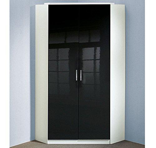 Eckkleiderschrank in Pearlglanz schwarz/Korpus alpinweiß, mit 8 Einlegeböden, 2 Kleiderstangen, Aufstellmaß: 120x120 cm, Maße: B/H/T ca. 95/198/95 cm