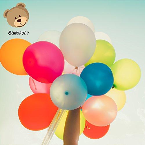 Bastelbär Luftballons - 100 bunte Ballons in 11 verschiedenen Farben