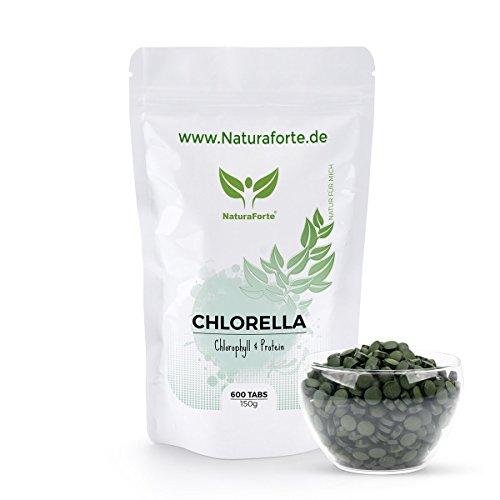 NaturaForte Chlorella Algen Tabletten (600 Stück = 150g) - Natürlich, Hochdosiert, Rein und ohne Zusätze - Vegan - Reich an Protein / Eiweiß - Frisches, Grünes Superfood - Low-Carb