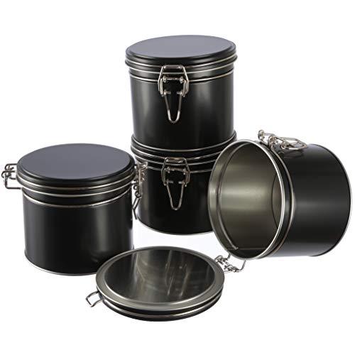 Dosenritter | 4 x stapelbare Vorratsdose/Teedose aus Metall für 270g mit Bügelverschluss und Gummilippe | 9.1 x 11.0 cm (H,ø) | auch ideal als Mehl-, Reis- oder Zuckerdose
