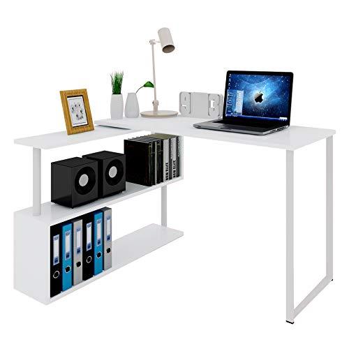 WOLTU Schreibtisch TS65ws Eckschreibtisch Winkelschreibtisch Winkelkombination Computertisch Bürotisch Arbeitstisch PC Laptop Tisch, mit Ablagen, 120x100x74cm(BxTxH), MDF, Weiß