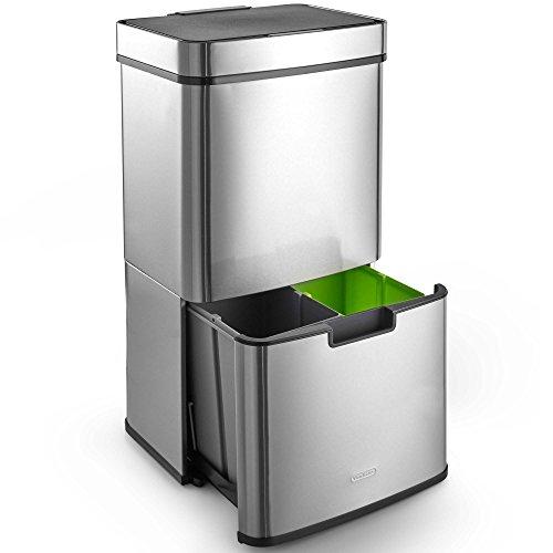 VonHaus 72L Abfalleimer mit 3 Fächern – Edelstahl – Automatisches Öffnen/Schließen per Infrarotsensor – Umweltfreundlich – Mit Stickern zur Kennzeichnung