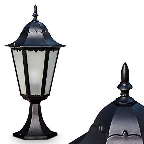 Außenleuchte Hongkong Frost, Sockelleuchte in antikem Look, Aluguß in Schwarz matt mit Milchglas-Scheiben, Wegeleuchte 49 cm, Retro/Vintage Gartenlampe, E27-Fassung, max. 100 Watt, IP44