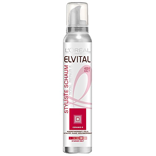 L'Oréal Paris Elvital Styliste Schaumfestiger Totail Repair 5, starker Halt, 6er Pack (6 x 150 ml)