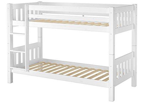 Erst-Holz Schönes Stockbett Kiefer Massivholz weiß 90x200cm Kinderzimmer Etagenbett + Rollrost 60.06-09W