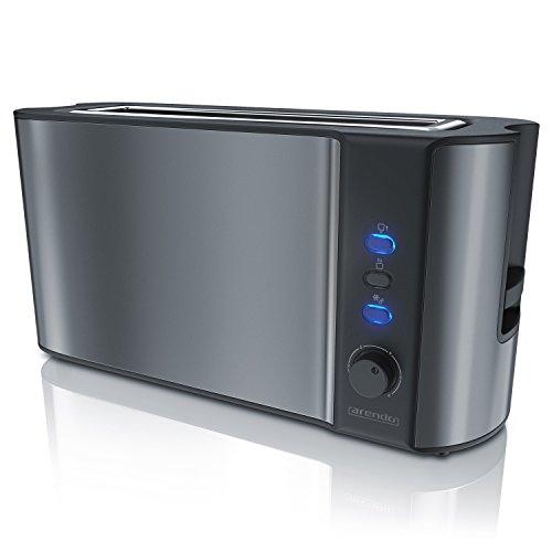 Arendo - Automatik Toaster Langschlitz | Defrost Funktion / Wärmeisolierendes Doppelwandgehäuse | Automatische Brotzentrierung | integrierter Brötchenaufsatz | herausziehbare Krümelschublade | in Cool Grey