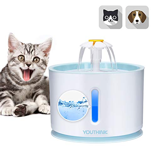 YOUTHINK Katzenbrunnen für Katzenbrunnen, 2.4L automatischer Katzenbrunnen, extrem leiser Wasserstand, Katzenbrunnen mit LED-Licht und 1 Kohlefilter für Hunde und Katzen [2019 Upgrade]