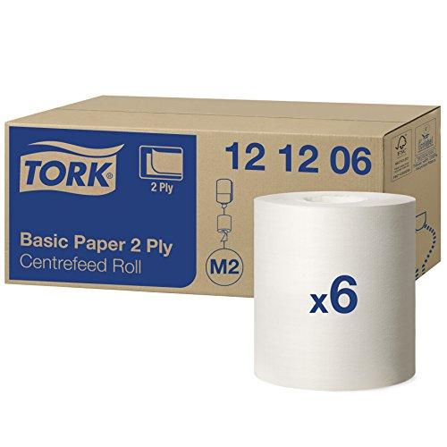Tork 121206 Standard Papierwischtücher für das M2 Innenabrollung Spendersystem / 2-lagiges stabiles Papier in weiß, 6 x 457 Tücher (20 x 35 cm)