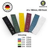 INNONEXXT Premium Verglasungsklötze | 24 x 100 mm, 400 Stück | Made in Germany | Unterlegplatten, Abstandshalter, Distanzklötze aus Kunststoff | im Set: 1, 2, 3, 4, 5, 6 mm