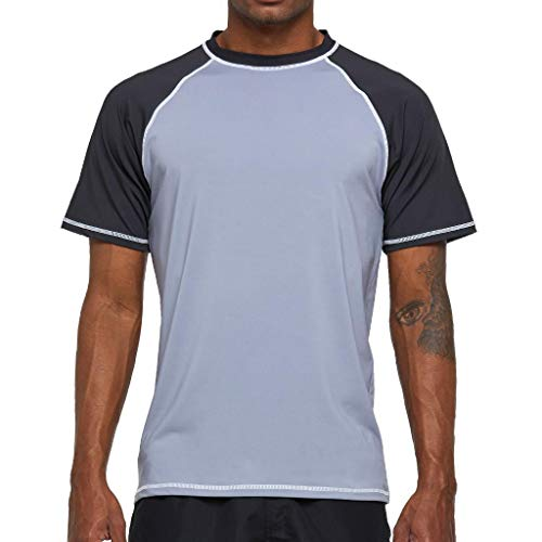 Arcweg Rashguard Herren Kurzarm Shirt UV Schutz T-Shirt Elastisch Schnelltrocknend Sun Shirt UPF 50 Tops Funktionsshirt Fitness Shirt Rash Vest zum Surf Laufen Angeln Wandern Grau EU L
