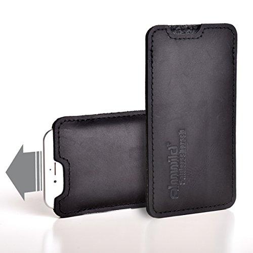 Almwild Hülle, Tasche passend für Apple iPhone 11 Pro Max MIT Apple Leder Case/Silikon Case aus echtem Rinds- Leder. In Schwarz. Handyhülle in Bayern handgefertigt. Modell Sattlerschorsch