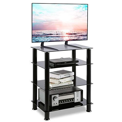 RFIVER HiFi Rack Stand TV Regal Möbel Schrank Fernsehertisch Glas mit Vier Ablagen HF1001