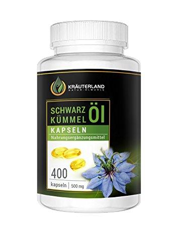 Schwarzkümmelöl Kapseln • 400 à 500mg • Ägyptisch • Kaltgepresst • 100% rein • Vitamin E • Mühlenfrisch direkt von Kräuterland Ölmühle • Schwarzkümmelölkapseln Made in Germany • Premium Qualität
