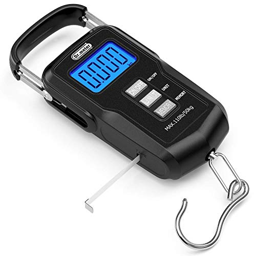 Dr.meter Fishing Scale, 110lb / 50kg Digitale Hängewaage mit hintergrundbeleuchtetem LCD Display, Maßband und 2 AAA Batterien