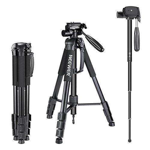 Neewer Tragbarer 177,8cm/177Zentimeter Aluminium Legierung Kamera Stativ Einbeinstativ mit 3-Wege-Drehgelenk Pan Head, Tasche für DSLR-Kamera, DV Video Camcorder, belastbar bis 8,8Pfund/4Kilogramm schwarz (sab264)