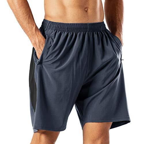 Herren Sport Shorts Schnell Trocknend Kurze Hose mit Reißverschlusstasch(Grau,3XL)