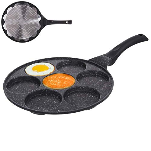 ORION GROUP Augenpfanne Spiegelei-Pfanne für 7 Eier Crepepfanne für Gas Induktion Antihaftbeschichtete Ø 27 cm GRANDE