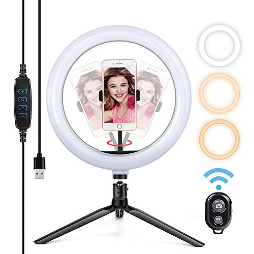 Yoozon Selfie Ringleuchte Stick Stativ mit Fernbedienung Tischringlicht mit 3 Lichtfarbe und 10 Helligkeitsstufen für den meisten Android iPhone Smartphones